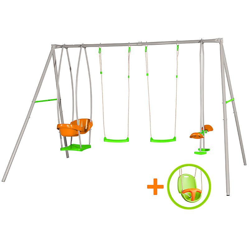 Portique en métal Axion 4 agrès + 1 siège bébé