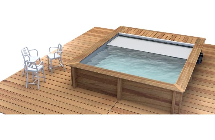 piscine bois urbaine avec couverture automatique 420 x 350. Black Bedroom Furniture Sets. Home Design Ideas