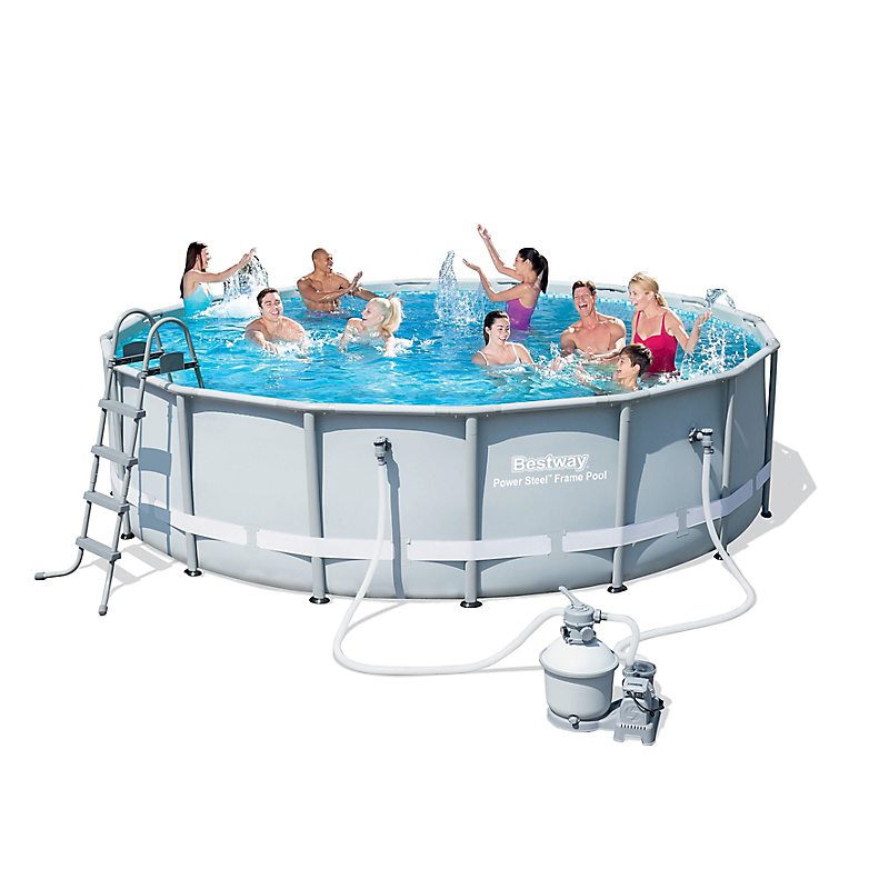 Piscine tubulaire power steel ronde 488 x 122 cm maison for Leclerc piscine intex