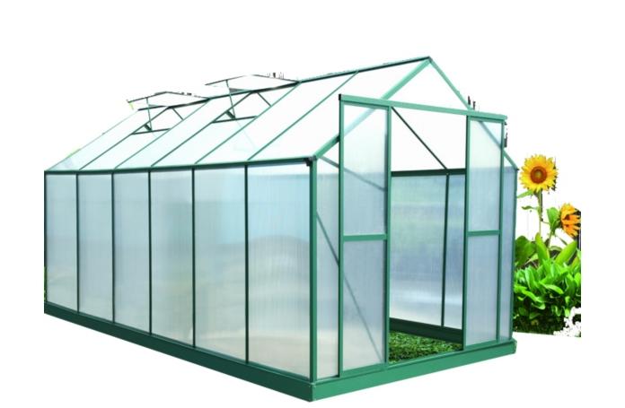 Serre polycarbonate alu vert 12 81 m maison loisirs e leclerc - Montage serre polycarbonate ...