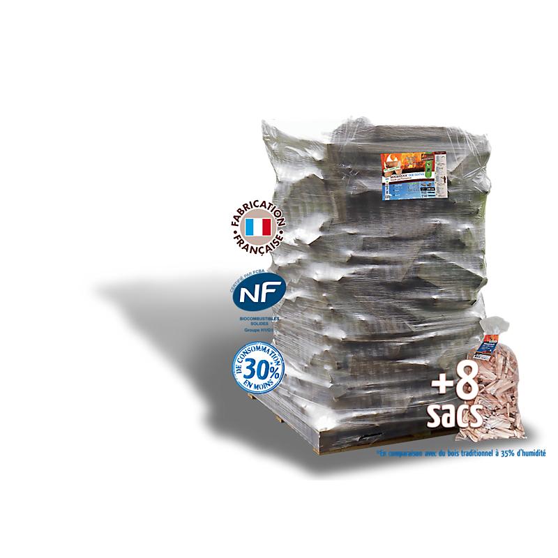 1 pack Woodstcok : 2400 DM³ de bûches de 25 cm + 8 sacs de bois d'allumage