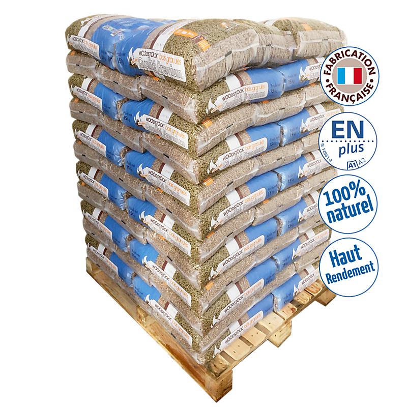 1 palette WOODSTOCK : 78 sacs de granulés de 15 kg