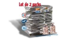 2 PACKS : 2400 DM³ BUCHES 25 CM + 8 SACS BOIS D'ALLUMAGE WOODSTOCK