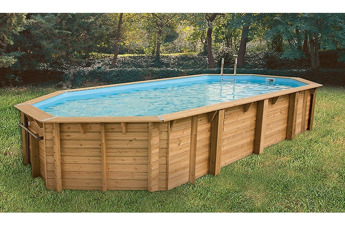 Piscine Bois Octogonale Allong E Emeraude 820 X 470 X 130