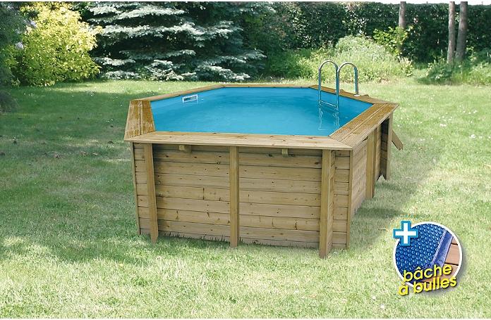 Piscine bois hexagonale 410 x 120 cm maison loisirs e for Liner piscine hexagonale bois