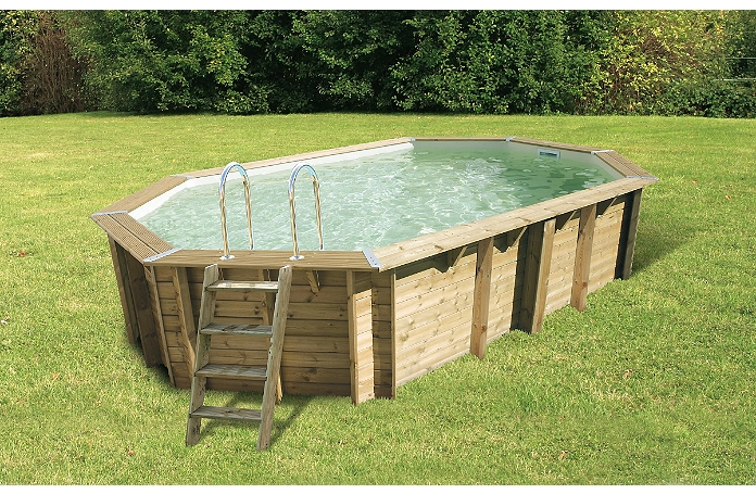 Piscine Bois Octogonale Allong E Emeraude 610 X 440 X 120