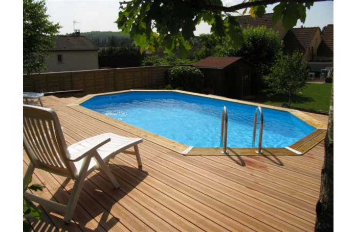 Piscine bois octogonale allong e emeraude d 610 x 400 x h for Piscine emeraude