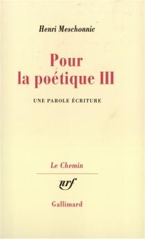 Pour la poétique - HenriMeschonnic
