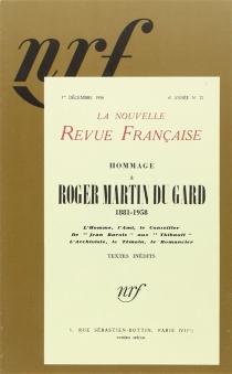 Hommage à Roger Martin du Gard : 1881-1958 - Nouvelle revue française
