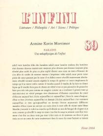 Infini (L'), n° 89 - ArmineKotin-Mortimer