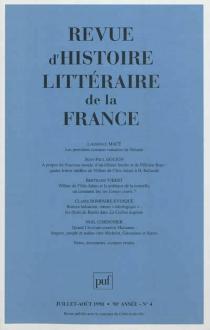 Revue d'histoire littéraire de la France, n° 4 (1998) -