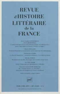Revue d'histoire littéraire de la France, n° 2 (2000) -