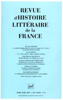Revue d'histoire littéraire de la France, n° 2 (2001) -
