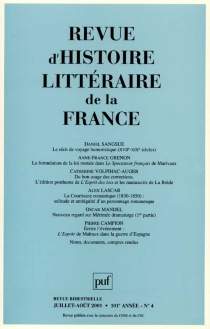 Revue d'histoire littéraire de la France, n° 4 (2001) -