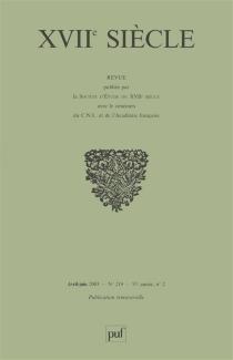 Dix-septième siècle, n° 219 -