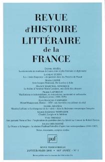 Revue d'histoire littéraire de la France, n° 1 (2003) -