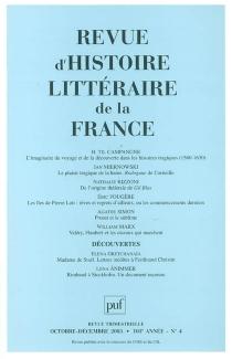 Revue d'histoire littéraire de la France, n° 4 (2003) -