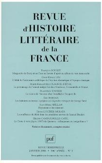 Revue d'histoire littéraire de la France, n° 1 (2006) -