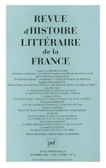 Revue d'histoire littéraire de la France, n° 4 (2006) -