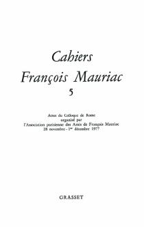 Cahiers François Mauriac, n° 5 -
