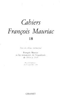 Cahiers François Mauriac, n° 18 -