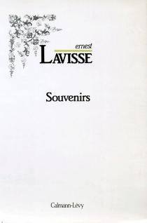 Souvenirs - ErnestLavisse