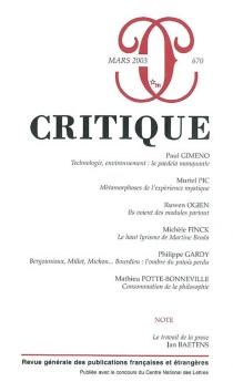 Critique, n° 670 -