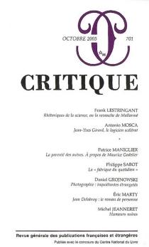 Critique, n° 701 -