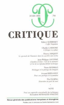 Critique, n° 706 -