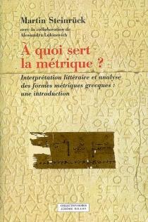 A quoi sert la métrique ? : interprétation littéraire et analyse des formes métriques grecques : une introduction - MartinSteinrück