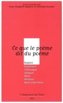 Ce que le poème dit du poème : Segalen, Baudelaire, Callimaque, Gauguin, Macé, Michaux, Saint-John Perse -