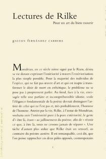 Lectures de Rilke : pour un art de bien mourir - GastonFernandez Carrera
