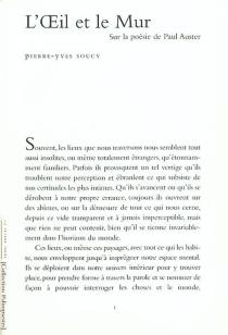 L'oeil et le mur : sur la poésie de Paul Auster - Pierre-YvesSoucy