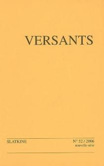 Versants, n° 52 -