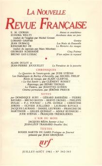Nouvelle revue française, n° 342-343 -