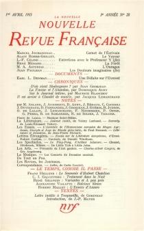 Nouvelle revue française, n° 28 -
