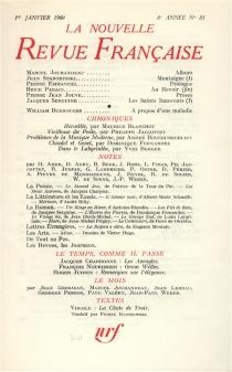 Nouvelle revue française, n° 85 -