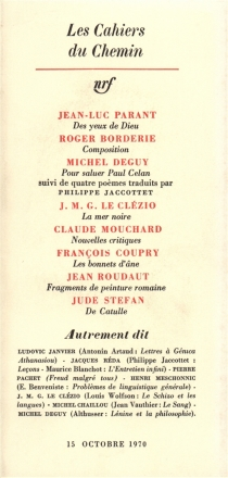 Cahiers du chemin (Les), n° 10 -