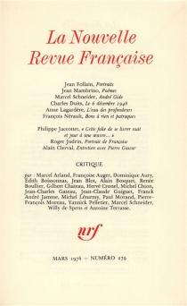 Nouvelle revue française, n° 279 -