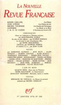 Nouvelle revue française, n° 300 -
