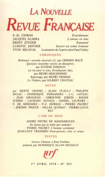 Nouvelle revue française, n° 303 -