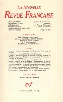 Nouvelle revue française, n° 375 -