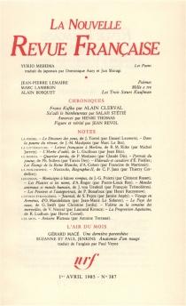 Nouvelle revue française, n° 387 -