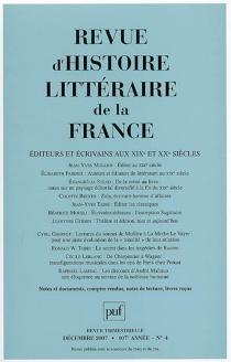 Revue d'histoire littéraire de la France, n° 4 (2007) -