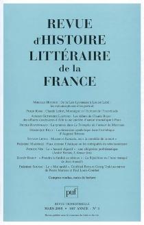 Revue d'histoire littéraire de la France, n° 1 (2008) -