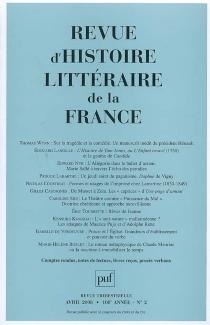 Revue d'histoire littéraire de la France, n° 2 (2008) -