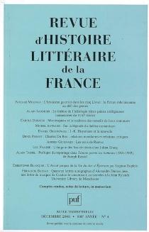 Revue d'histoire littéraire de la France, n° 4 (2008) -