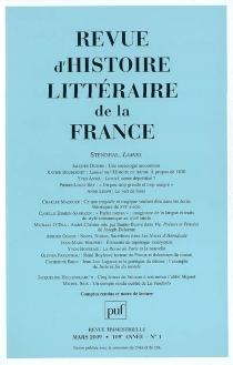 Revue d'histoire littéraire de la France, n° 1 (2009) -