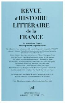 Revue d'histoire littéraire de la France, n° 2 (2009) -