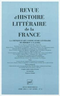 Revue d'histoire littéraire de la France, n° 2 (2011) -